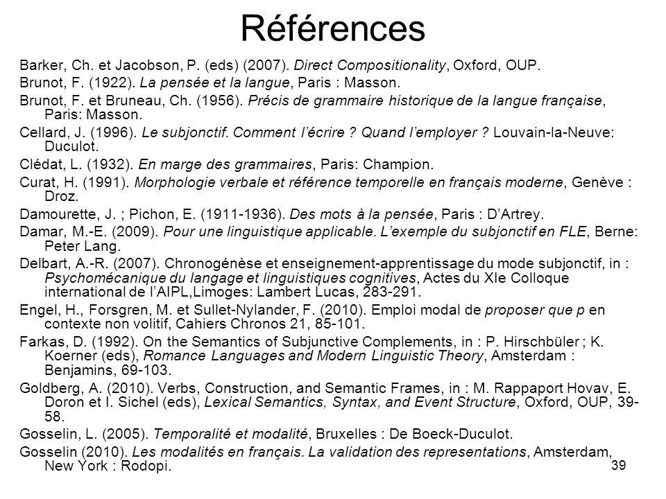 RéférencesBarker, Ch. et Jacobson, P. (eds) (2007). Direct Compositionality, Oxford, OUP. Brunot, F. (1922). La pensée et la langue, Paris : Masson.