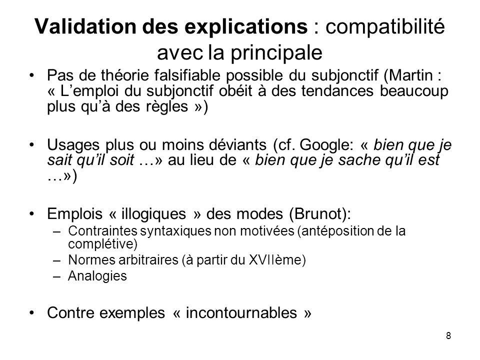 Validation des explications : compatibilité avec la principale