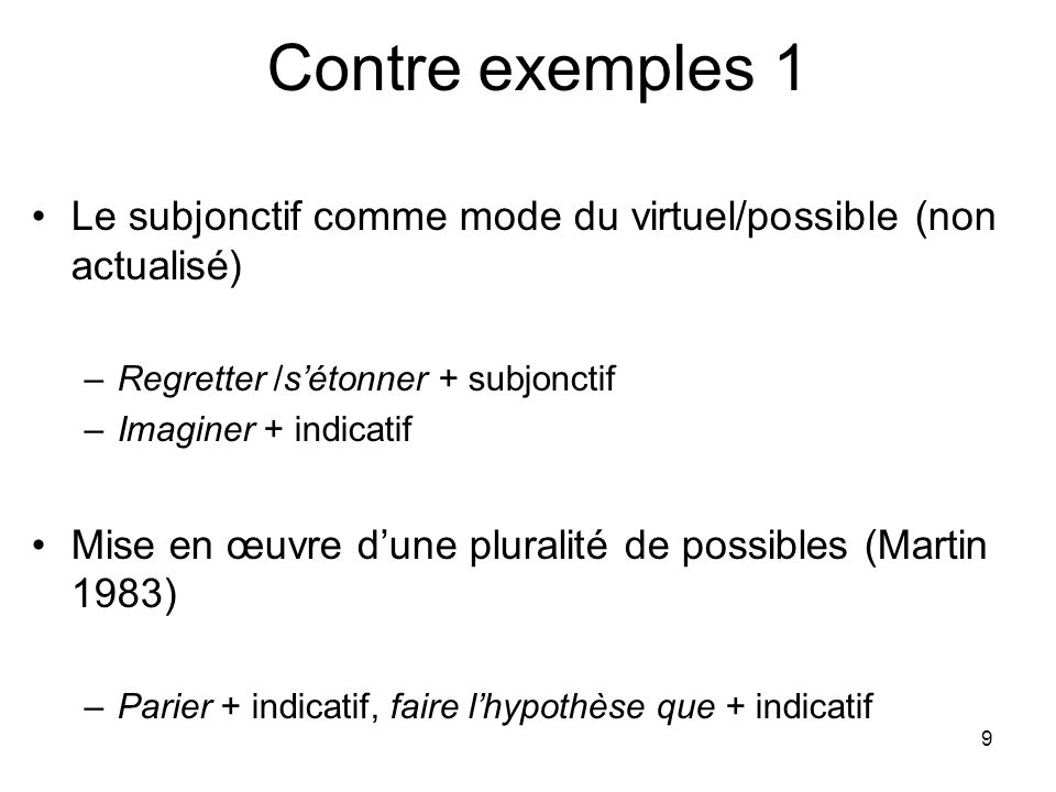 Contre exemples 1 Le subjonctif comme mode du virtuel/possible (non actualisé) Regretter /s'étonner + subjonctif.