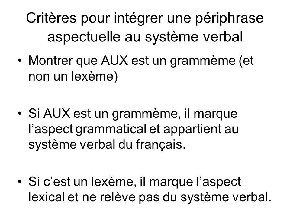 Critères pour intégrer une périphrase aspectuelle au système verbal