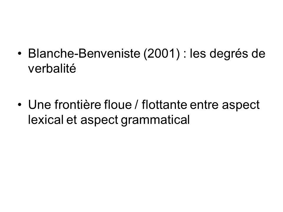 Blanche-Benveniste (2001) : les degrés de verbalité
