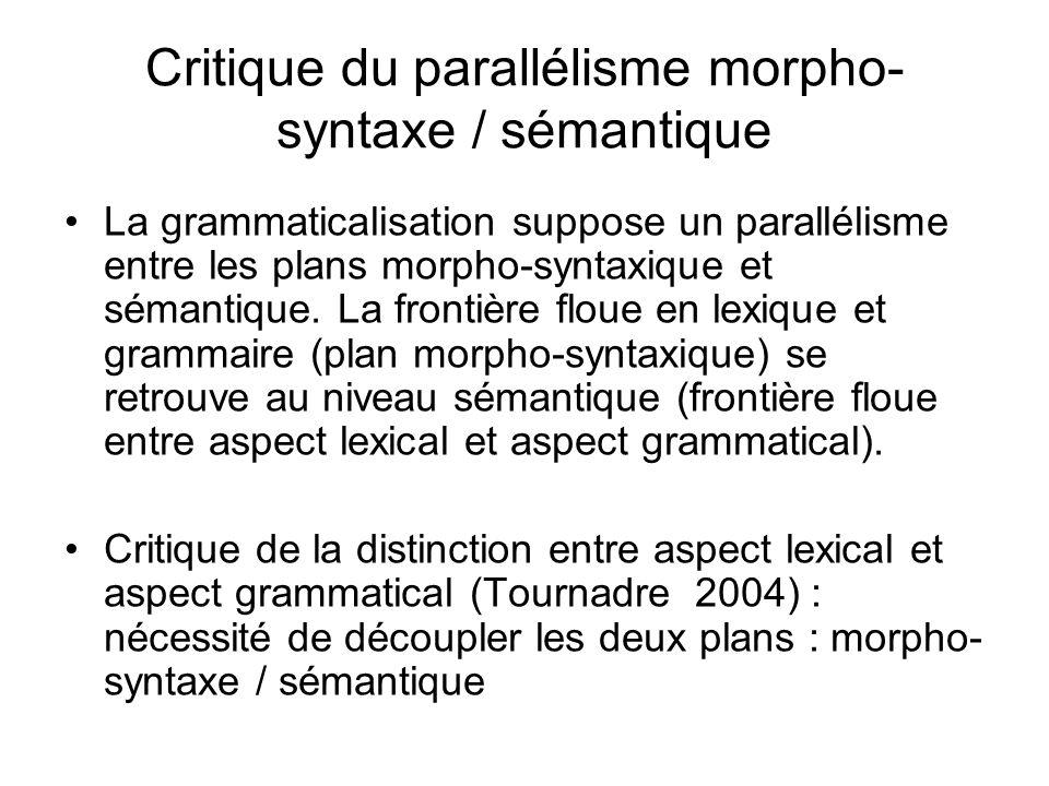Critique du parallélisme morpho-syntaxe / sémantique