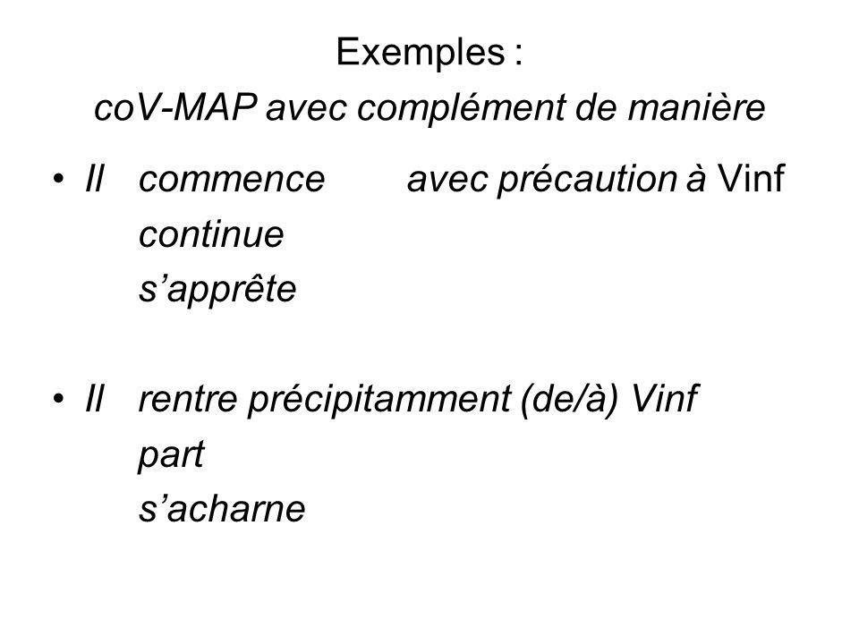 Exemples : coV-MAP avec complément de manière
