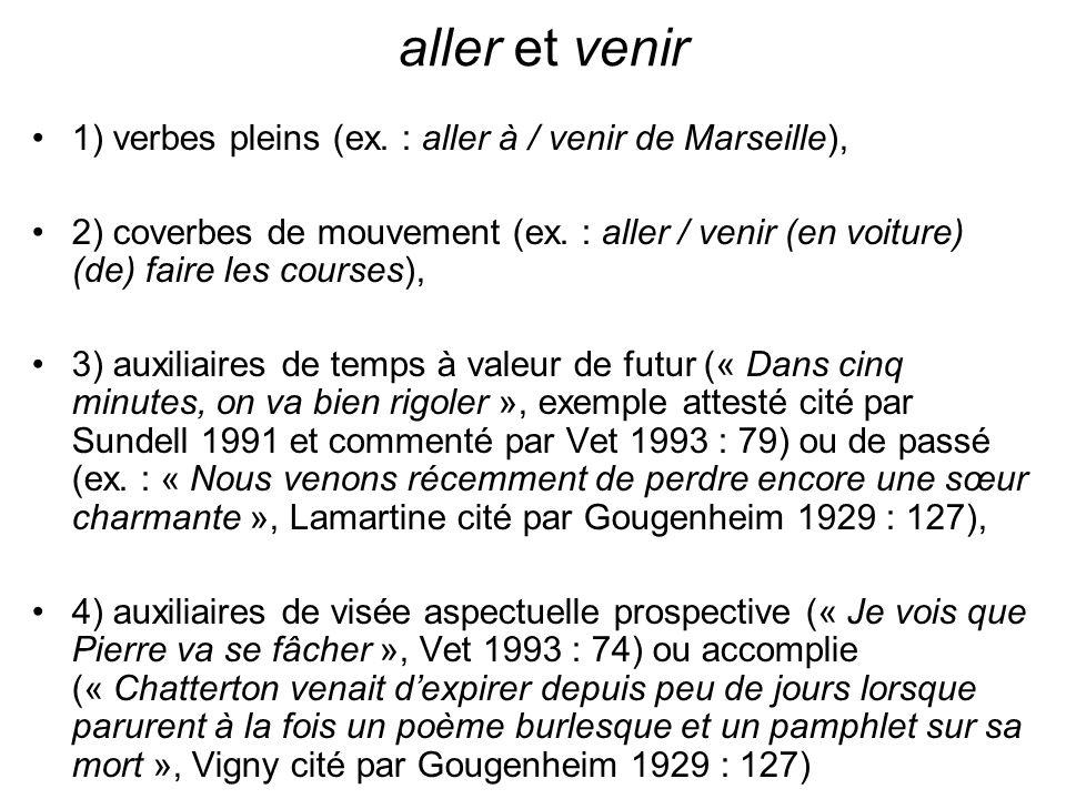 aller et venir 1) verbes pleins (ex. : aller à / venir de Marseille),