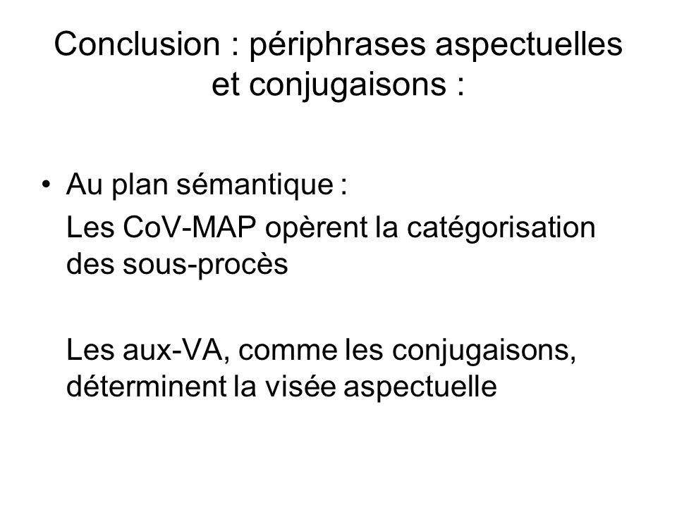 Conclusion : périphrases aspectuelles et conjugaisons :