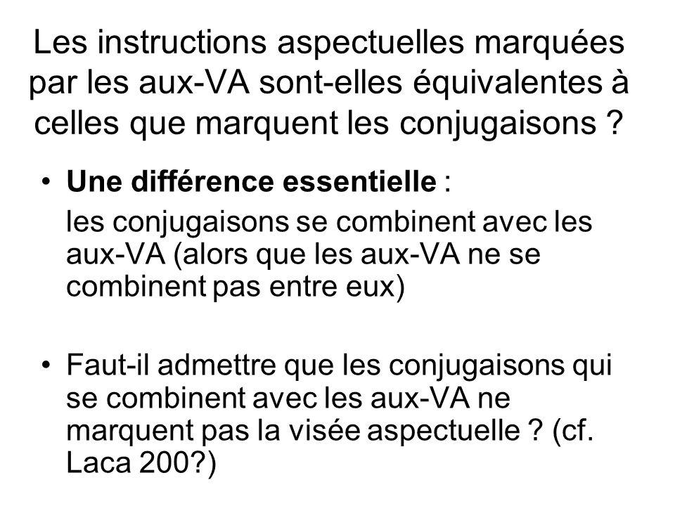 Les instructions aspectuelles marquées par les aux-VA sont-elles équivalentes à celles que marquent les conjugaisons