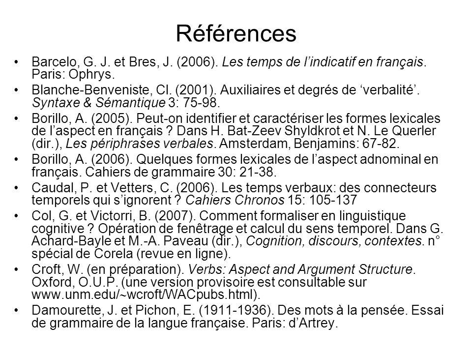 RéférencesBarcelo, G. J. et Bres, J. (2006). Les temps de l'indicatif en français. Paris: Ophrys.