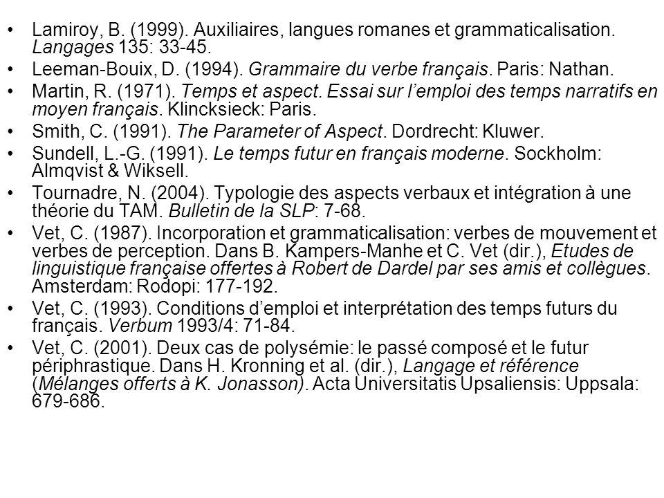 Lamiroy, B. (1999). Auxiliaires, langues romanes et grammaticalisation
