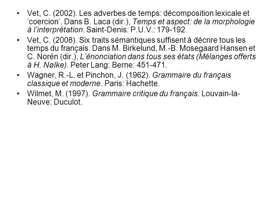 Vet, C. (2002). Les adverbes de temps: décomposition lexicale et 'coercion'. Dans B. Laca (dir.), Temps et aspect: de la morphologie à l'interprétation. Saint-Denis: P.U.V.: 179-192.