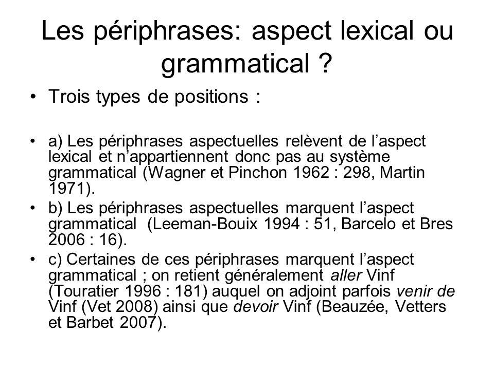 Les périphrases: aspect lexical ou grammatical