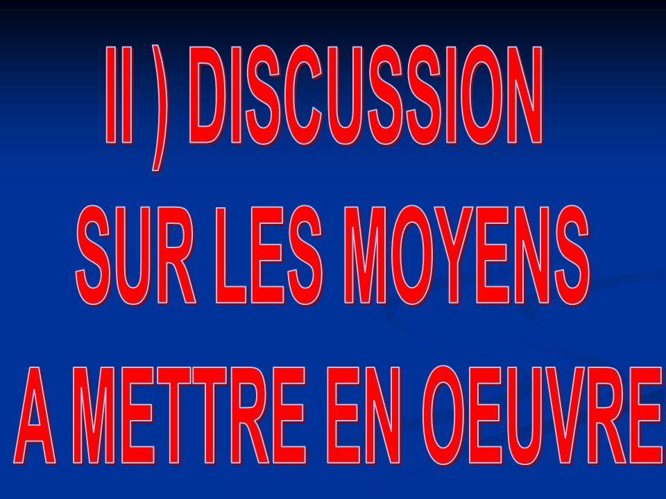 II ) DISCUSSION SUR LES MOYENS A METTRE EN OEUVRE