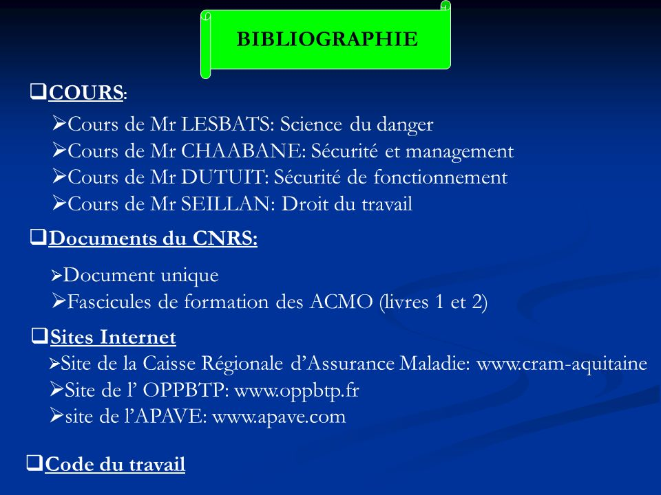 Cours de Mr LESBATS: Science du danger