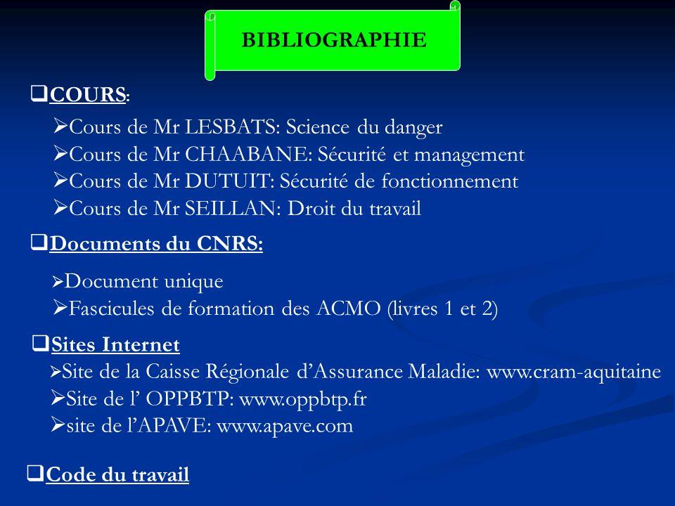 Cours de Mr LESBATS: Science du danger