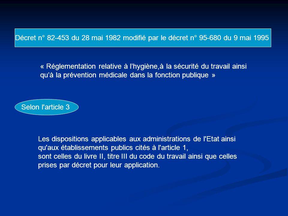 Décret n° 82-453 du 28 mai 1982 modifié par le décret n° 95-680 du 9 mai 1995