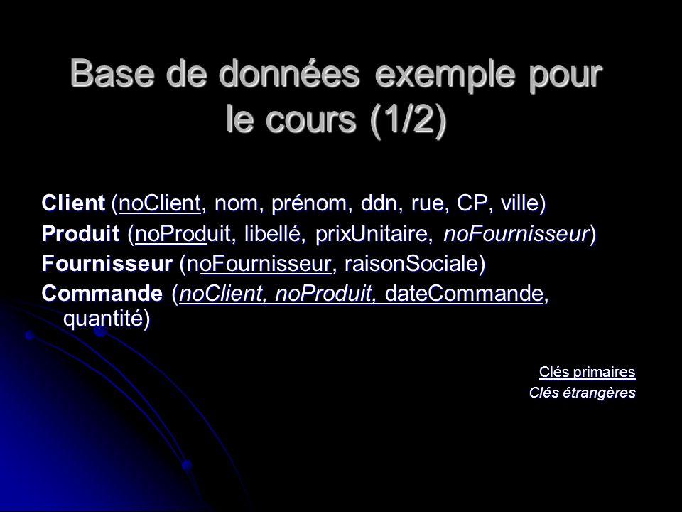 Base de données exemple pour le cours (1/2)