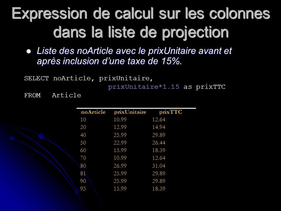 Expression de calcul sur les colonnes dans la liste de projection