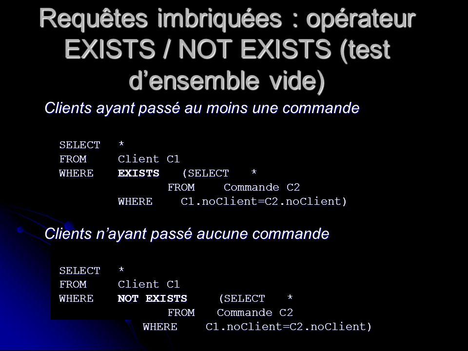 Requêtes imbriquées : opérateur EXISTS / NOT EXISTS (test d'ensemble vide)