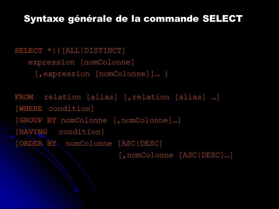 Syntaxe générale de la commande SELECT