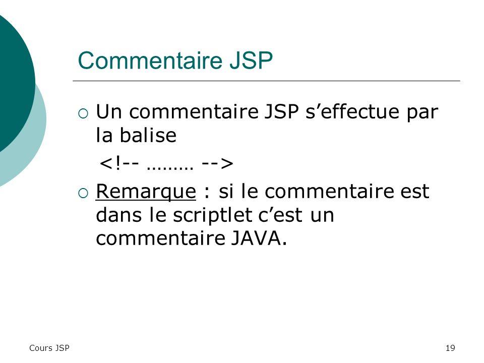 Commentaire JSP Un commentaire JSP s'effectue par la balise
