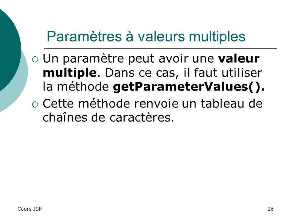 Paramètres à valeurs multiples