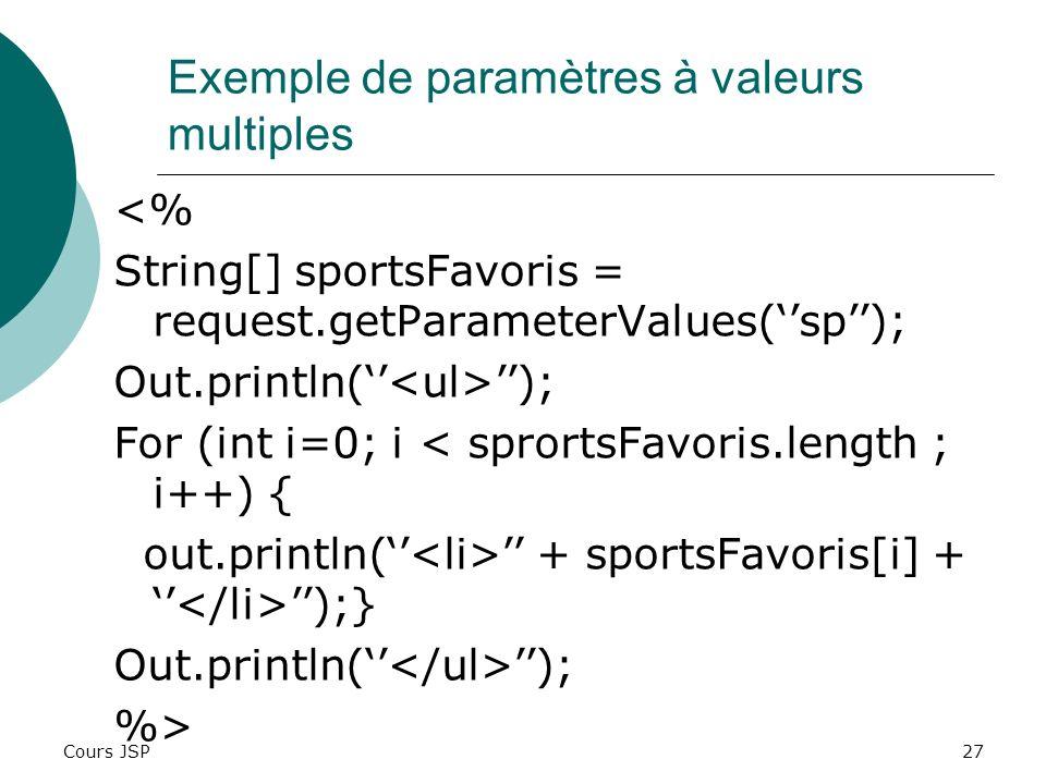 Exemple de paramètres à valeurs multiples
