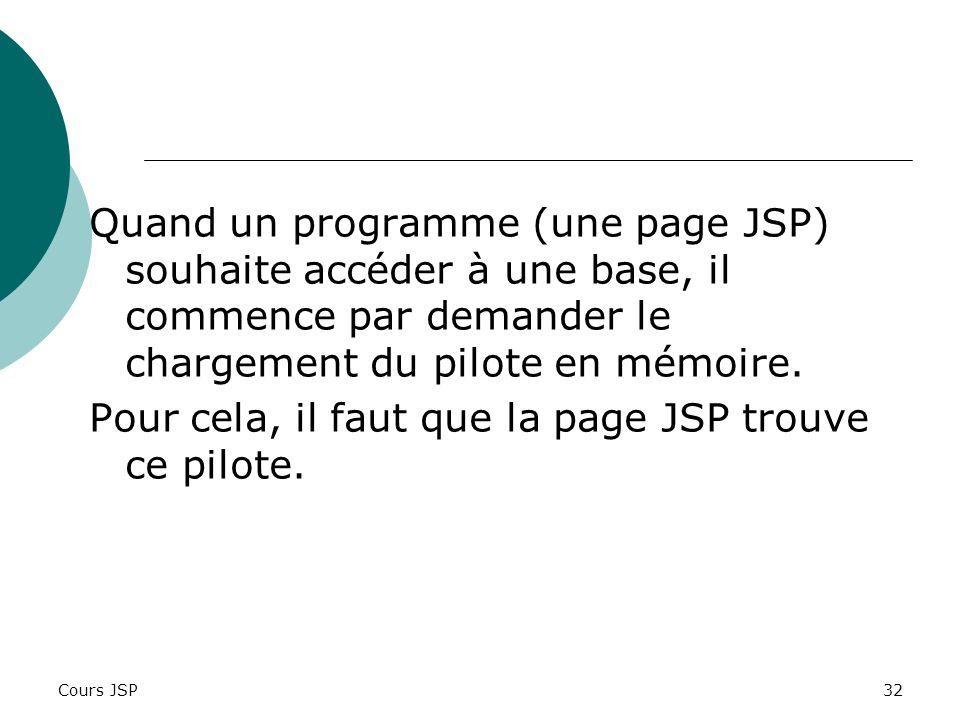 Pour cela, il faut que la page JSP trouve ce pilote.