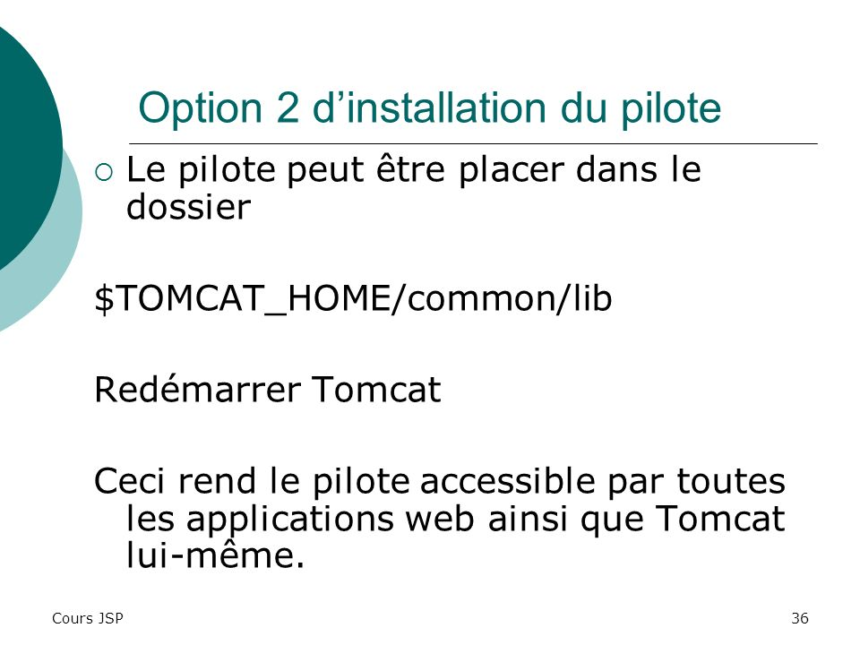 Option 2 d'installation du pilote
