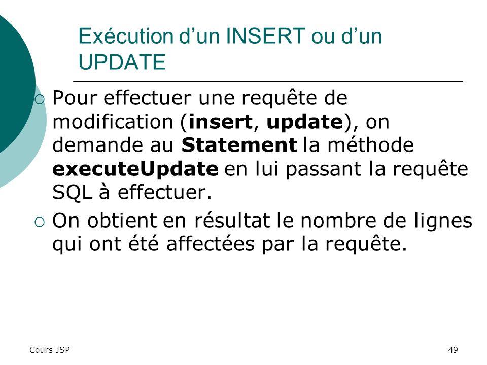Exécution d'un INSERT ou d'un UPDATE