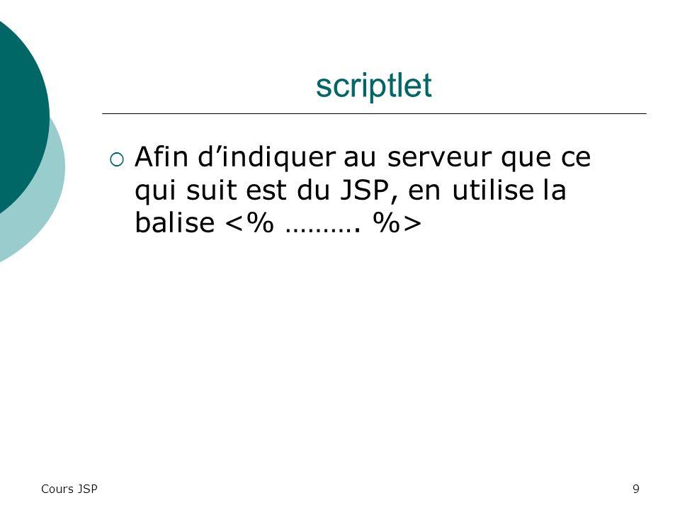scriptlet Afin d'indiquer au serveur que ce qui suit est du JSP, en utilise la balise <% ……….