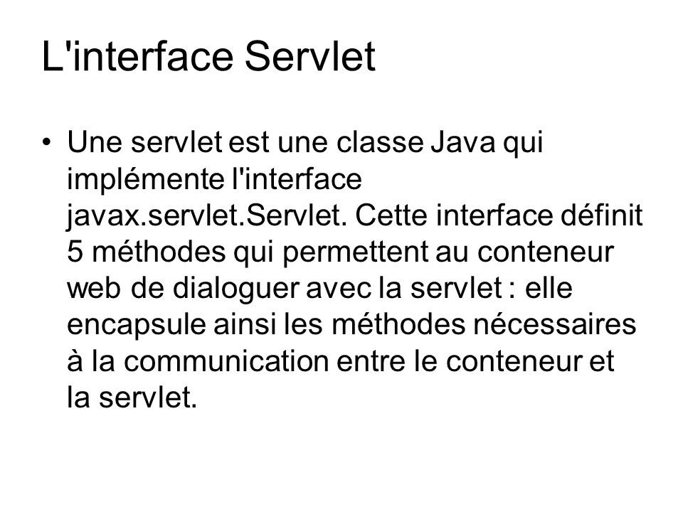 L interface Servlet