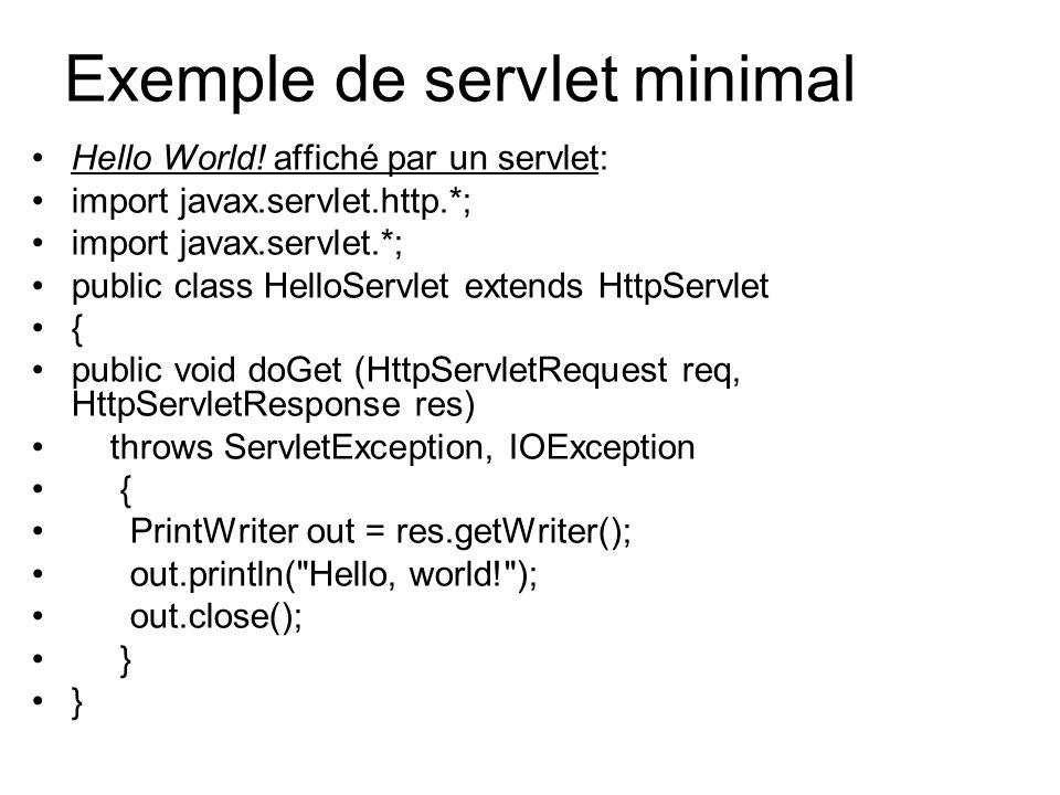 Exemple de servlet minimal