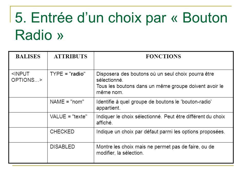 5. Entrée d'un choix par « Bouton Radio »