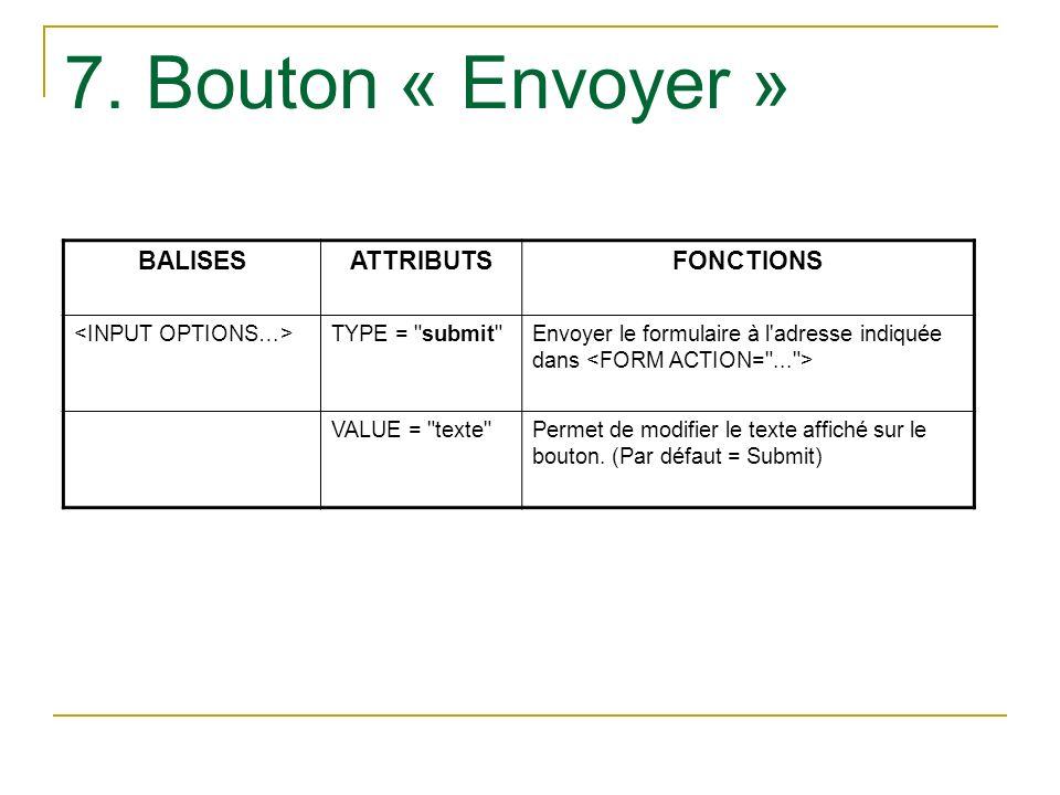 7. Bouton « Envoyer » BALISES ATTRIBUTS FONCTIONS