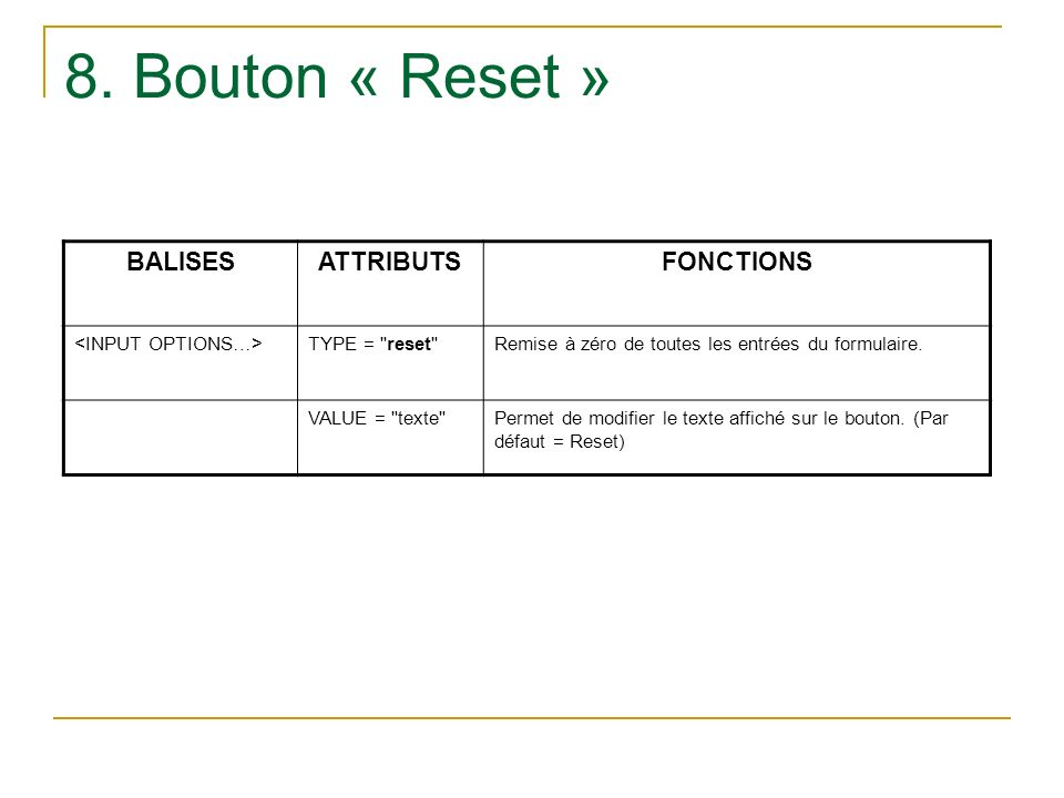 8. Bouton « Reset » BALISES ATTRIBUTS FONCTIONS <INPUT OPTIONS…>