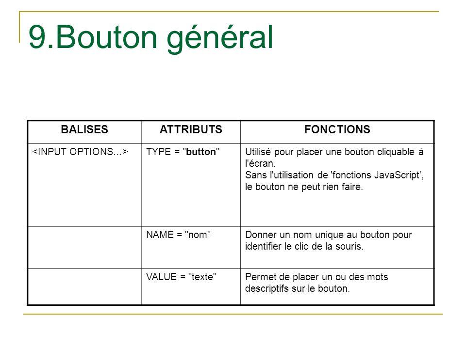 9.Bouton général BALISES ATTRIBUTS FONCTIONS <INPUT OPTIONS…>