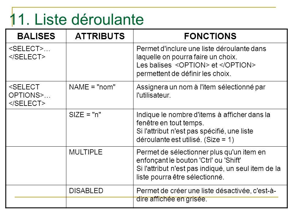 11. Liste déroulante BALISES ATTRIBUTS FONCTIONS
