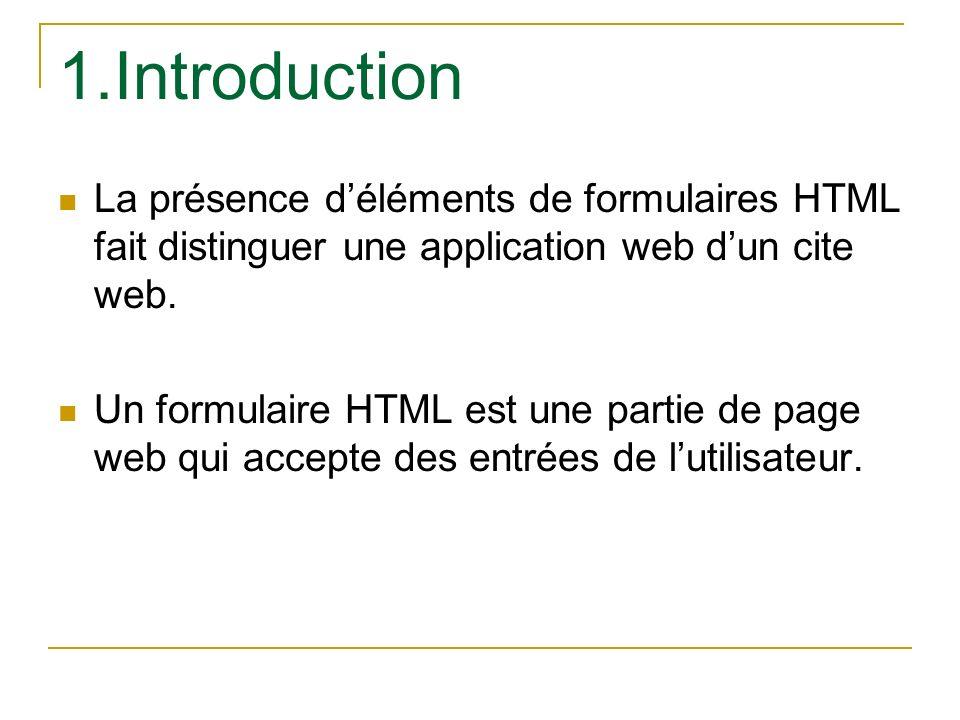 1.Introduction La présence d'éléments de formulaires HTML fait distinguer une application web d'un cite web.