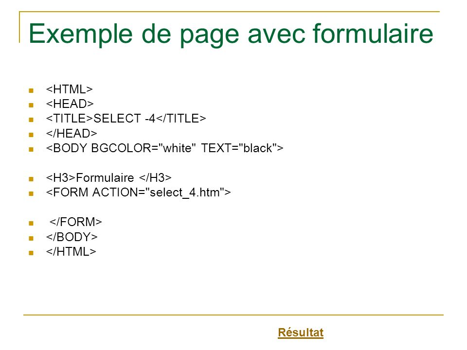 Exemple de page avec formulaire