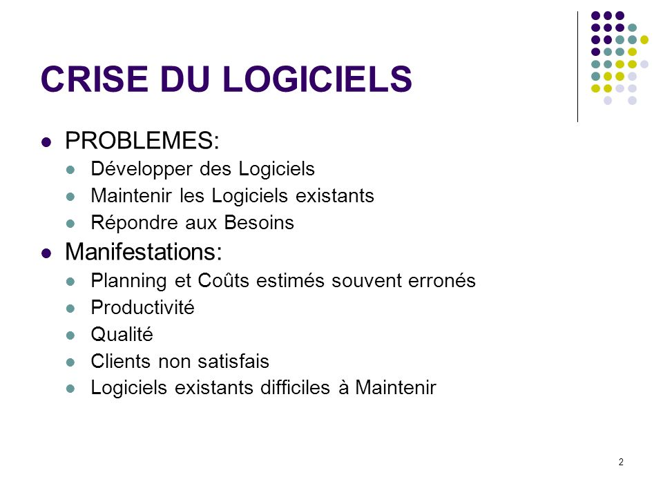 CRISE DU LOGICIELS PROBLEMES: Manifestations: Développer des Logiciels