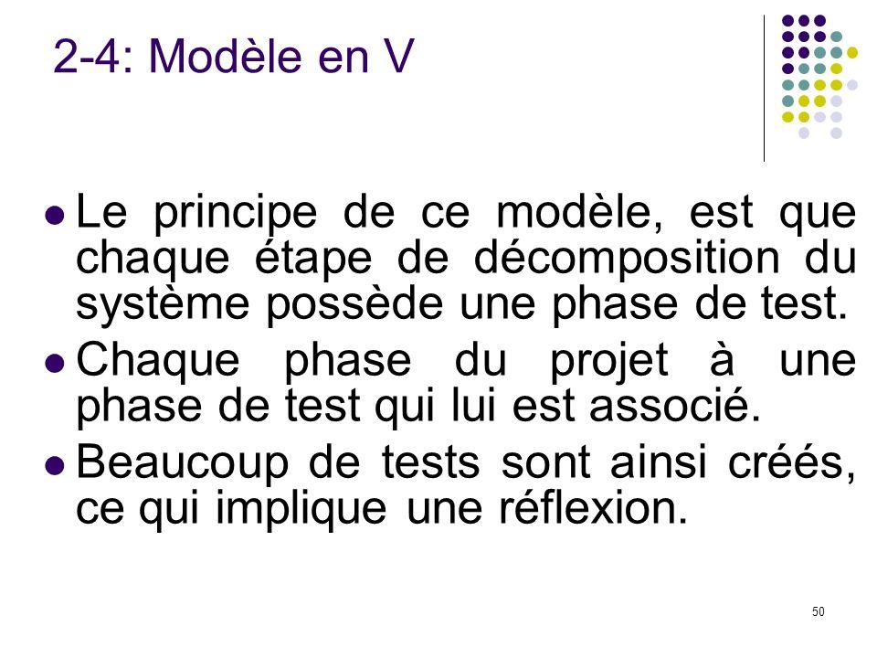 2-4: Modèle en V Le principe de ce modèle, est que chaque étape de décomposition du système possède une phase de test.