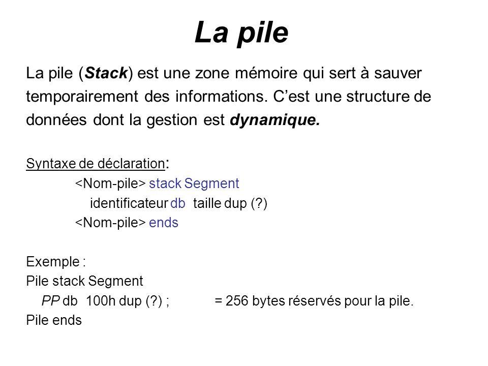 La pile La pile (Stack) est une zone mémoire qui sert à sauver
