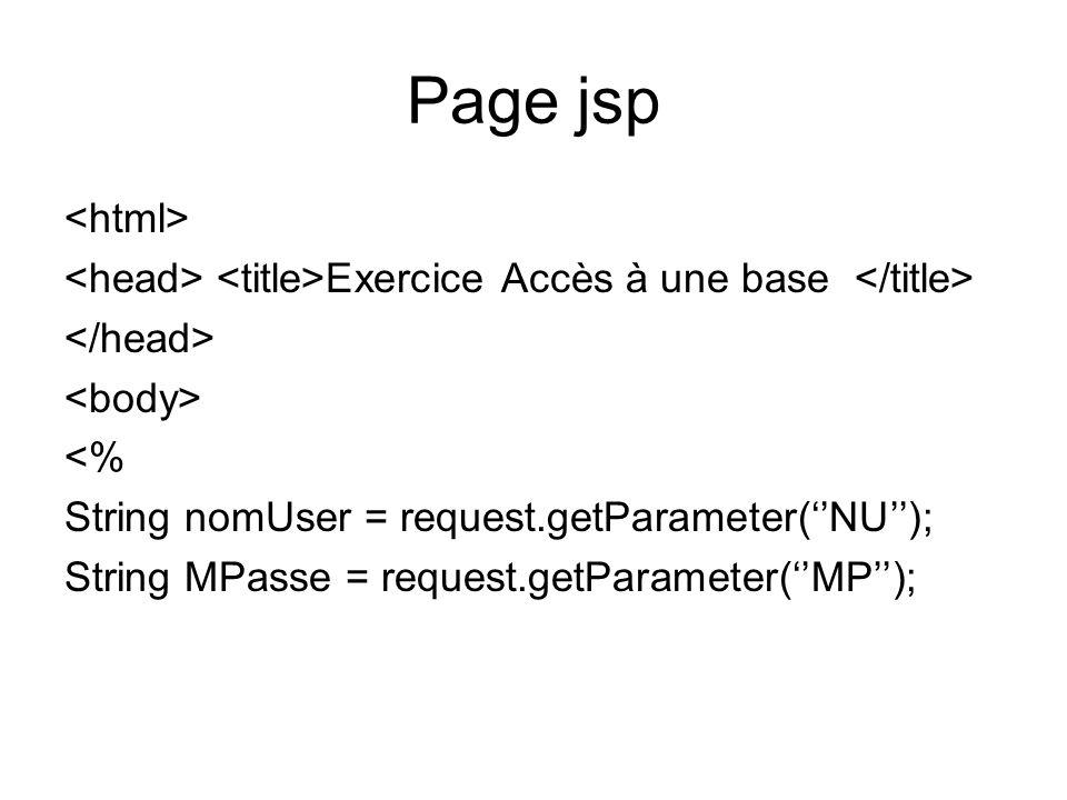 Page jsp<html> <head> <title>Exercice Accès à une base </title> </head> <body> <% String nomUser = request.getParameter(''NU'');