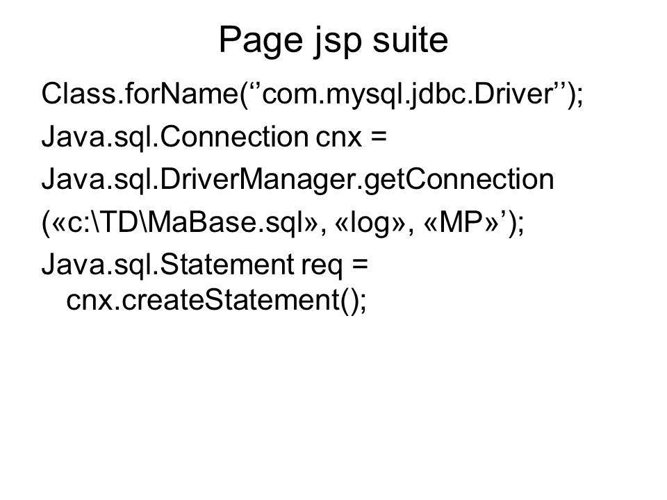 Page jsp suite Class.forName(''com.mysql.jdbc.Driver'');