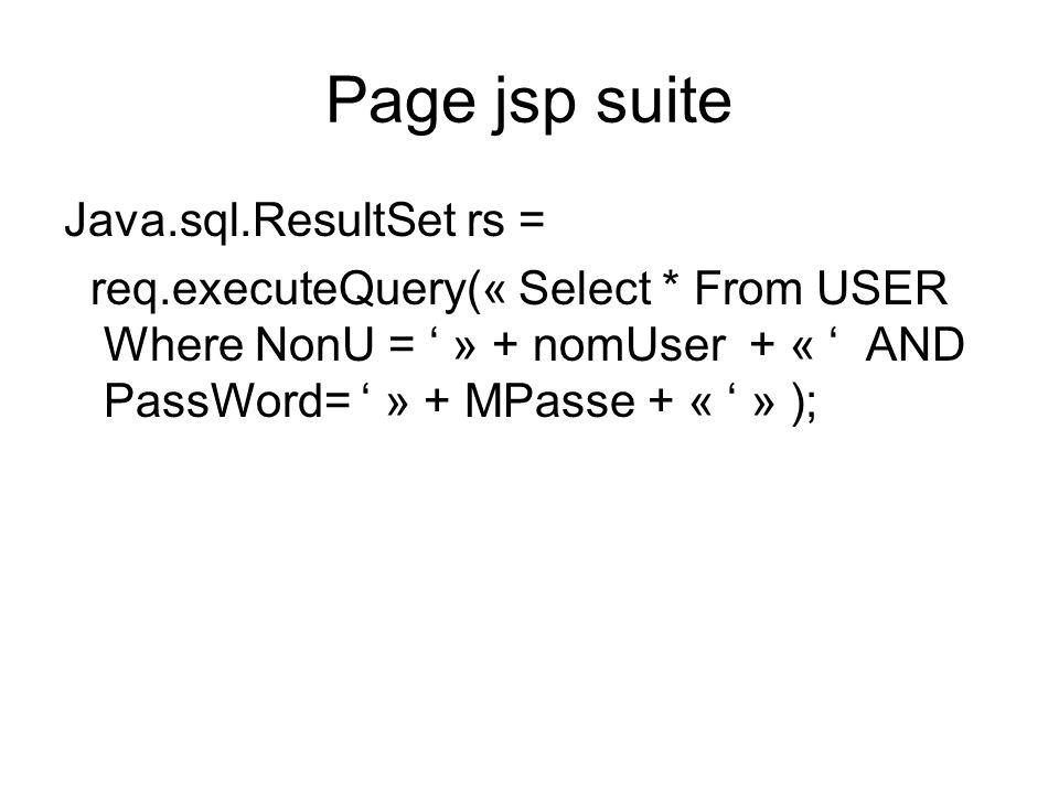 Page jsp suite Java.sql.ResultSet rs =