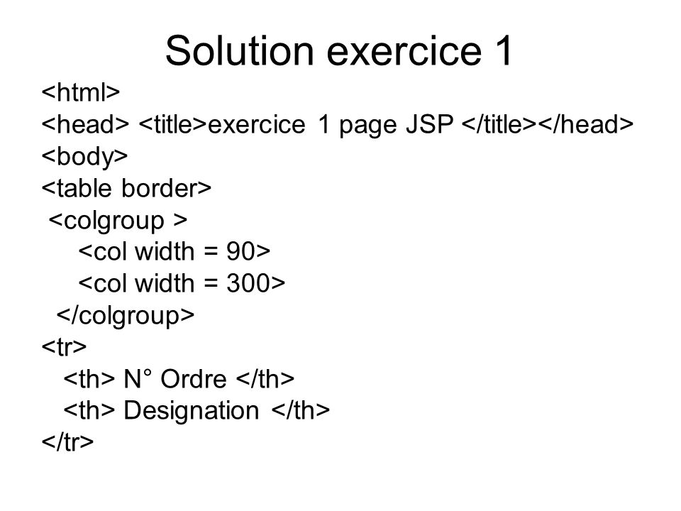 Solution exercice 1 <html>