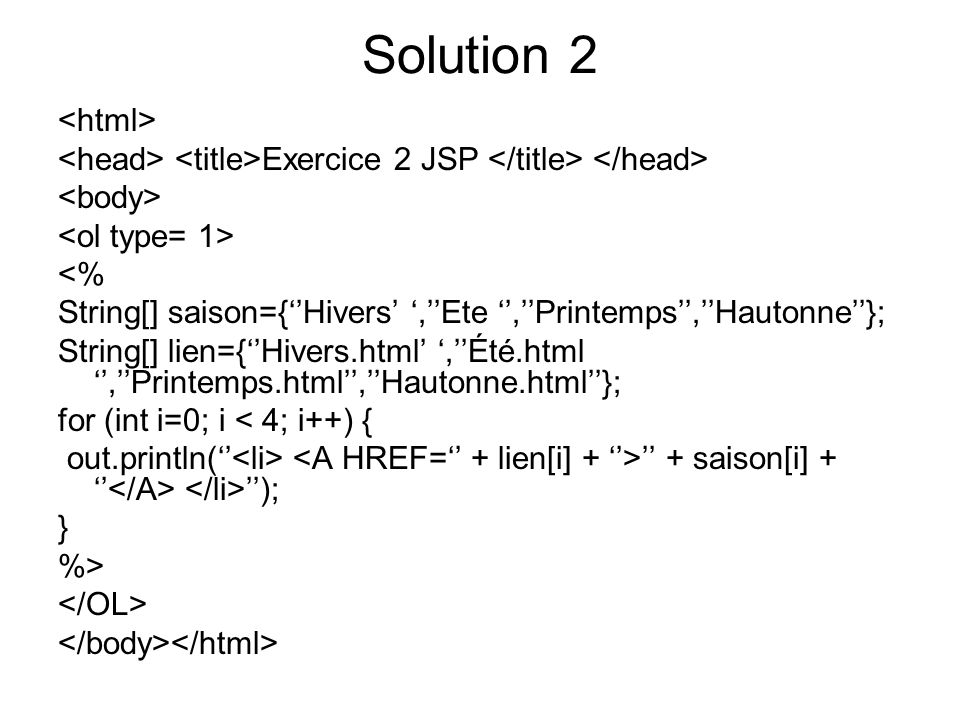 Solution 2 <html>