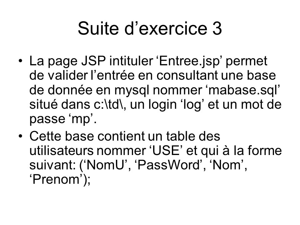 Suite d'exercice 3