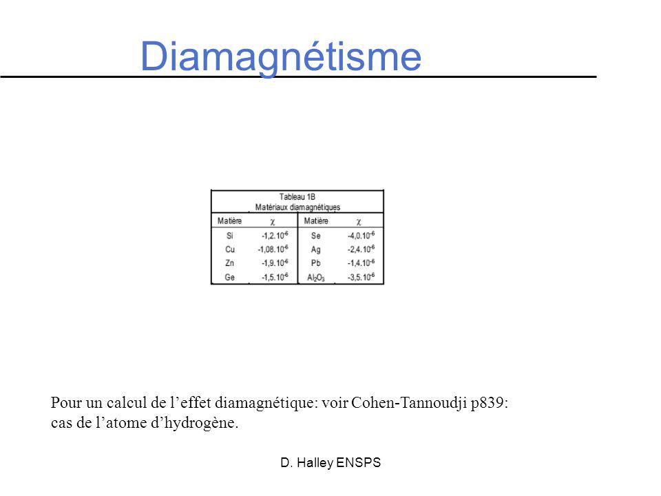 Diamagnétisme Pour un calcul de l'effet diamagnétique: voir Cohen-Tannoudji p839: cas de l'atome d'hydrogène.