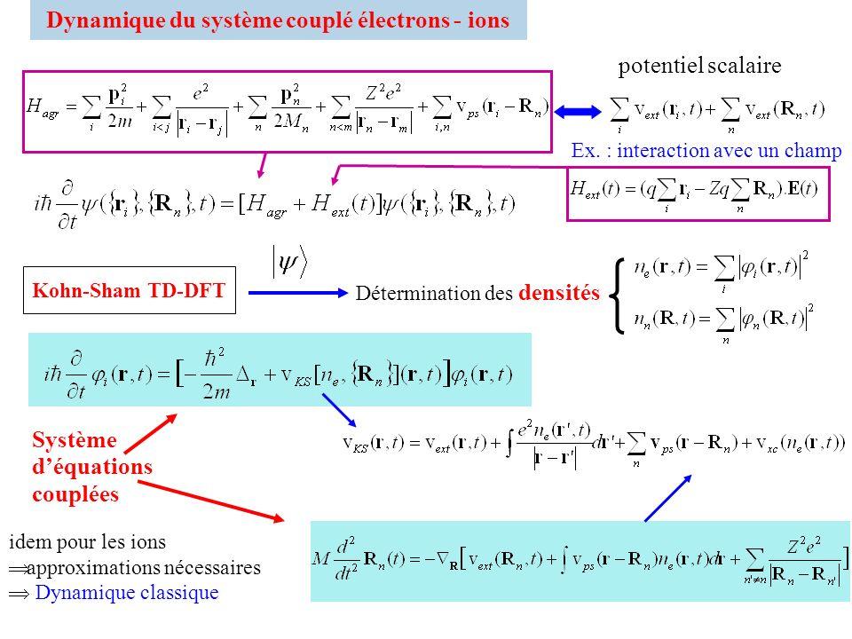 Dynamique du système couplé électrons - ions