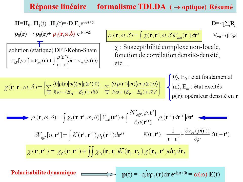 Réponse linéaire formalisme TDLDA (  optique) Résumé